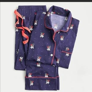 J.Crew navy long-sleeve dog pajama set NWT
